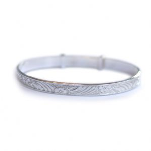 Silver Flower Baby Bangle